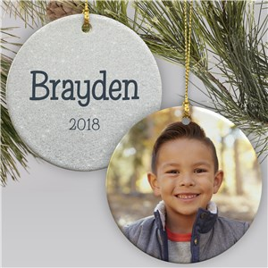 Personalized Glitter Name Photo Ornament for Him | Personalized Christmas Ornaments for Kids