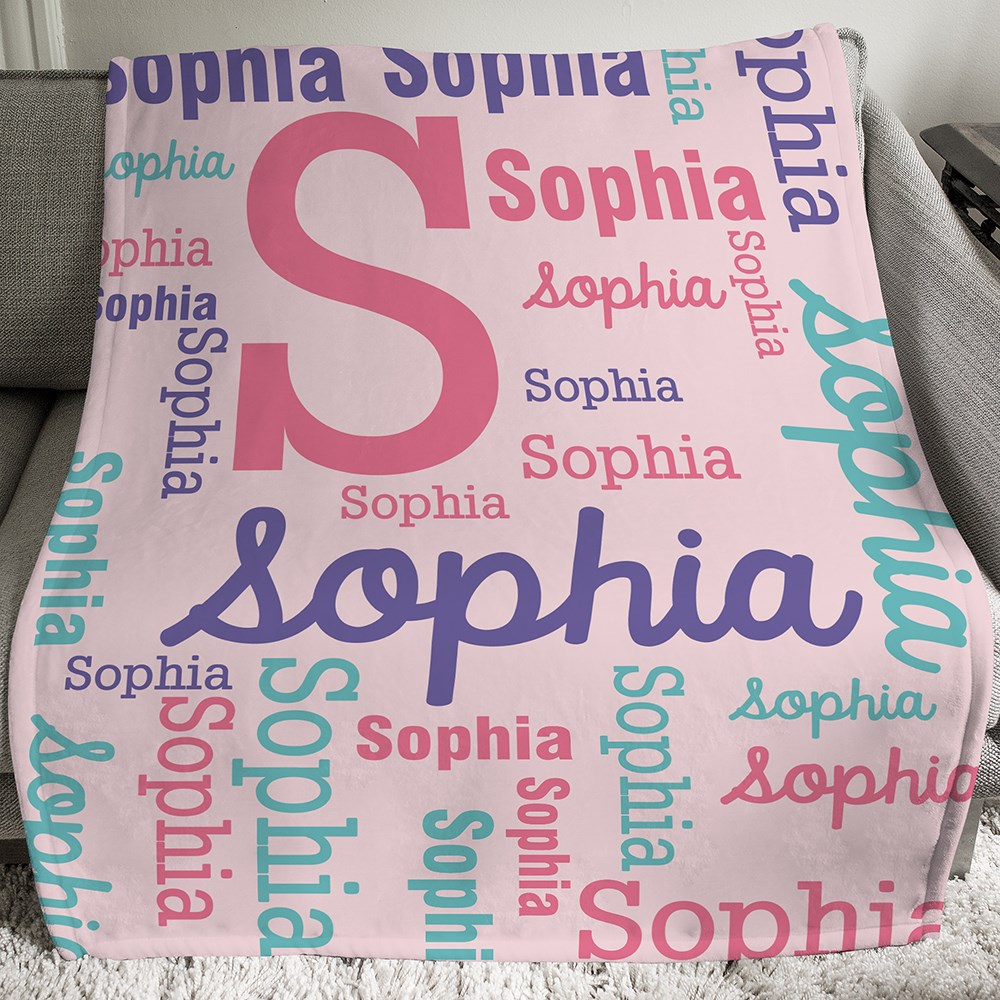 Personalized Girls Word-Art Throw | Kids Personalized Blankets