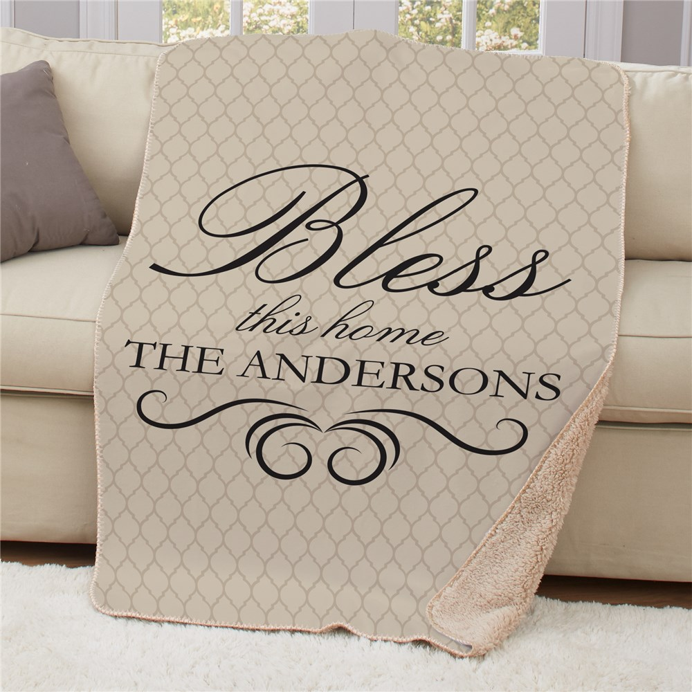 Personalized Bless This Home Sherpa Blanket | Housewarming Gift Ideas