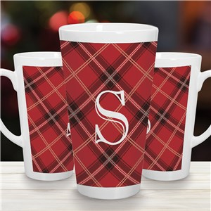 Personalized Initial Plaid Latte Mug | Personalized Christmas Mugs