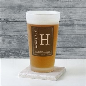 Personalized Name & Initial Frosted Pint Glass | Personalized Pint Glass
