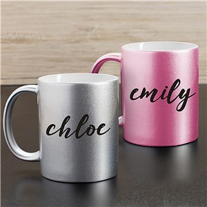 Personalized Any Name Metallic Mug | Customizable Coffee Mugs