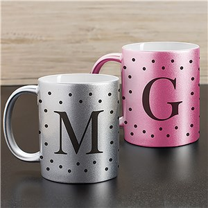 Personalized Polka Dot Initial Metallic Mug U1089296X