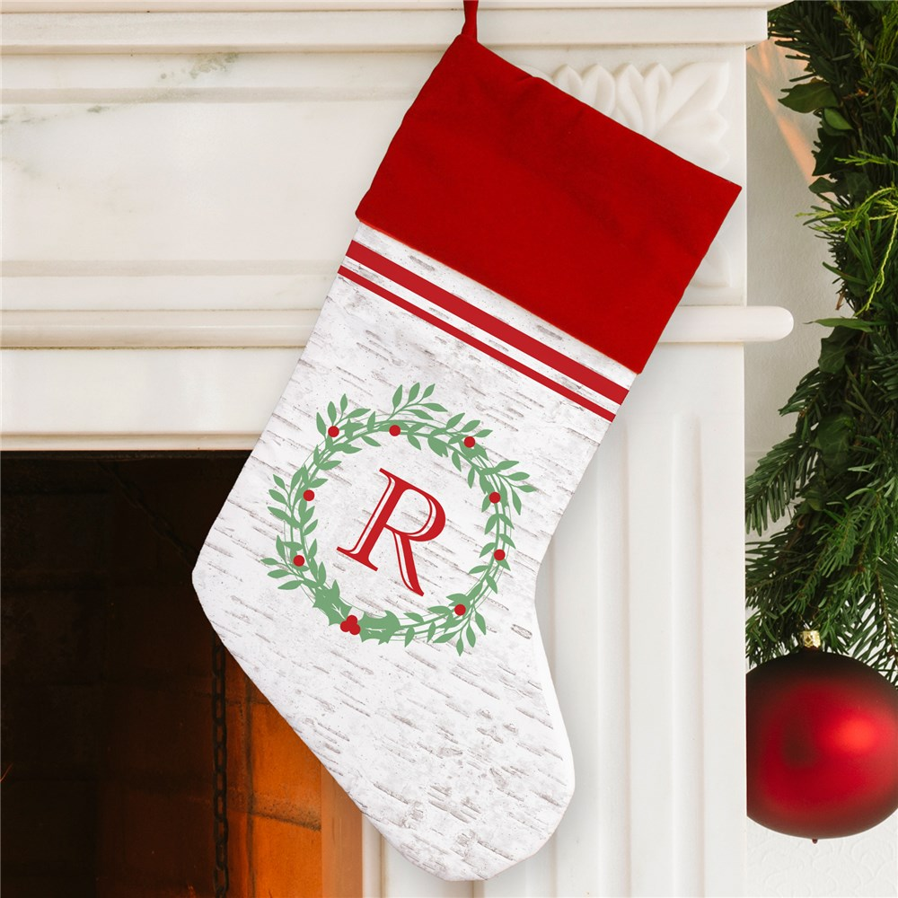 Initial Faux Birch Stocking | Monogrammed Christmas Stockings