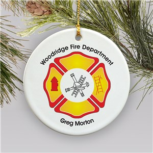 Personalized Fire Department Ornament | Fired Department Christmas Ornament