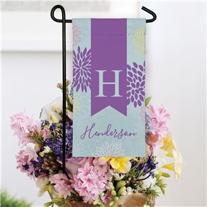 Personalized Floral Mini Garden Flag with Initial