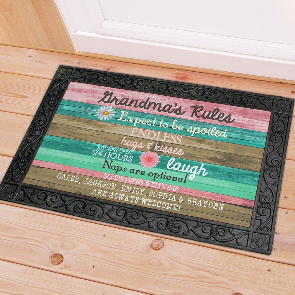 Personalized Grandmas Rules Doormat | Personalized Doormat