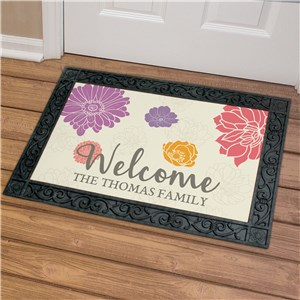 Personalized Welcome Floral Doormat | Personalized Doormat