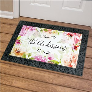 Personalized Floral Watercolor Doormat | Customized Doormats