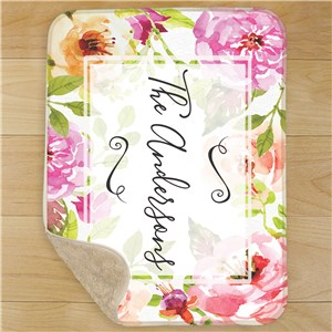 Personalized Floral Watercolor Sherpa Throw U1123287
