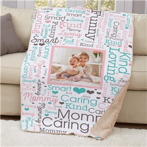 Mom Word-Art Photo Sherpa | Personalized Blankets