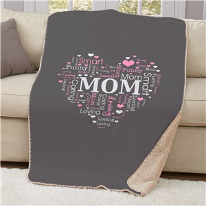 Heart Word-Art Sherpa Throw | Personalized Mother's Day Gifts