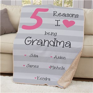 Personalized Reasons Why Sherpa Throw | Mother's Day Gifts For Grandma