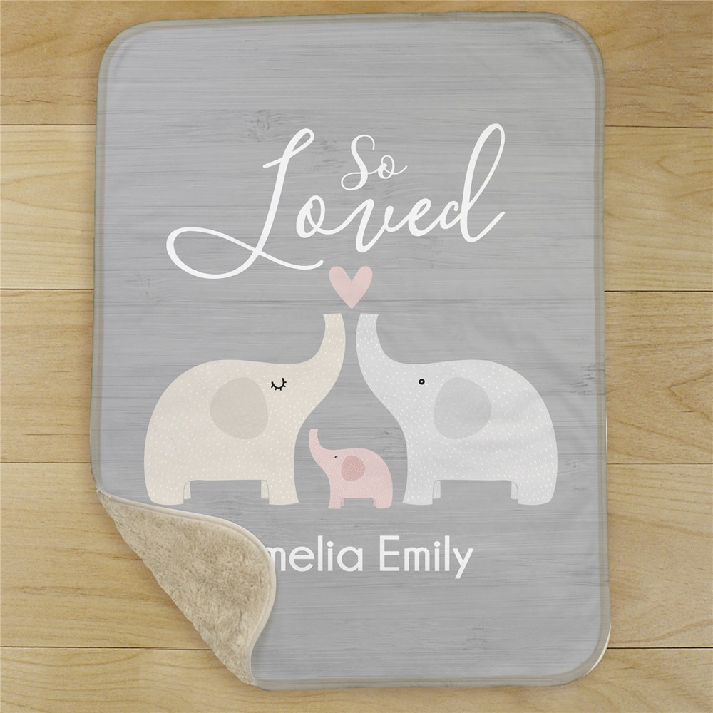 So Loved Personalized Sherpa Blanket for Baby | Personalized Baby Blanket