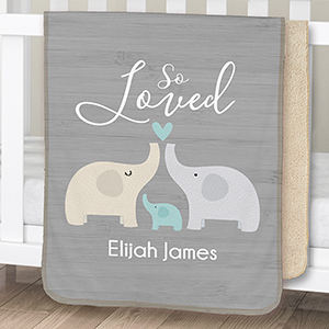 Personalized So Loved Sherpa Blanket for Baby | Personalized Baby Blanket