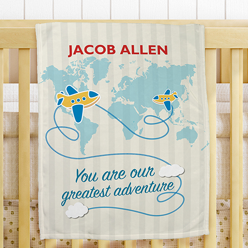 Personalized Greatest Adventure Fleece Blanket for Boys | Personalized Baby Blankets