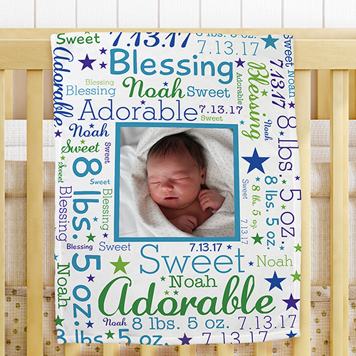 Personalized Photo Word-Art Fleece Blanket for Baby | Personalized Baby Blanket