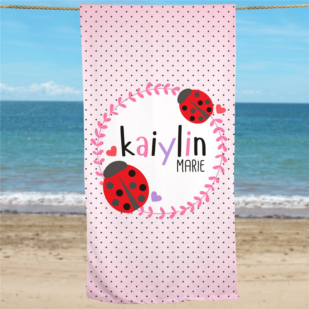Personalized Lady Bug Beach Towel | Personalized Beach Towels