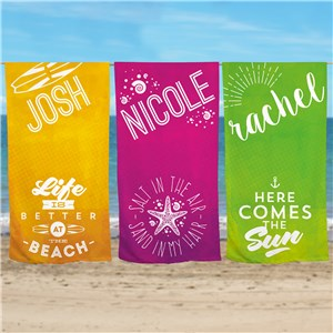 Personalized Summer Quotes Beach Towel