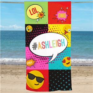 Personalized Emoji Beach Towel | Personalized Beach Towel