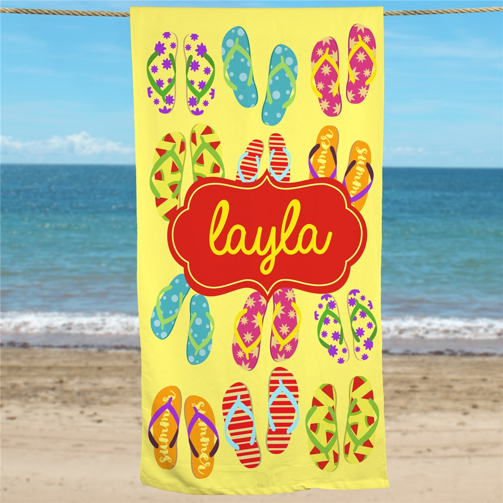 Personalized Flip Flops Beach Towel | Personalized Beach Towels