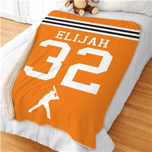 Personalized Sports Stripes Sherpa Blanket | Kids Blanket