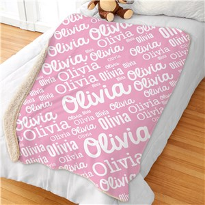 Kids Word-Art Sherpa Throw | Oversized Kids Blanket