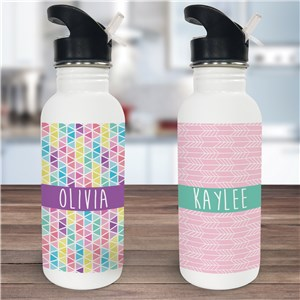 Personalized Fun Patterns Water Bottle | Stainless Steel Personalized Water Bottle