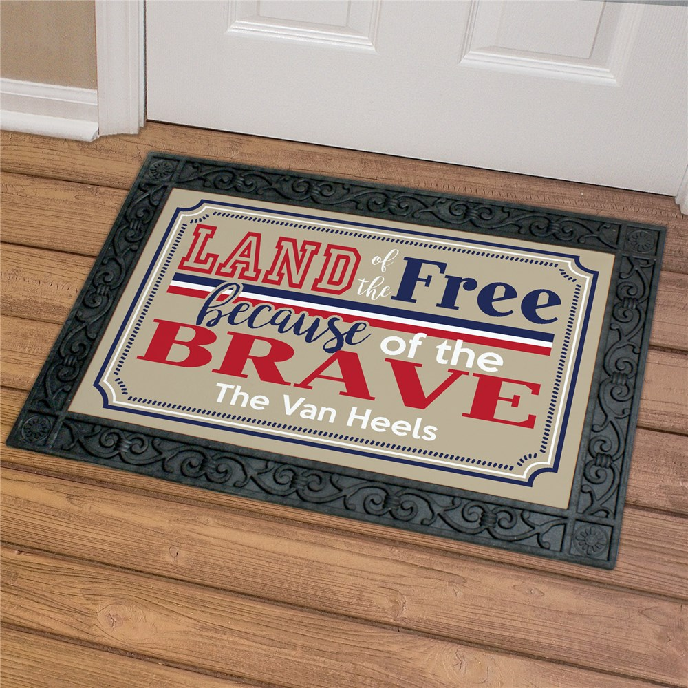 Personalized Land of the Free Doormat | Personalized Door Mats