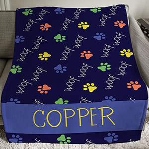 Personalized Woof Woof Throw | Personalized Pet Gifts