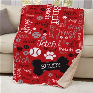 Personalized Pet Word-Art Sherpa Blanket | Personalized Dog Blankets