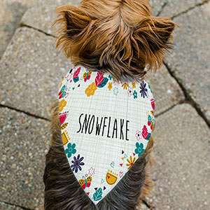 Personalized Floral Print Pet Bandanna | Personalized Pet Bandanna