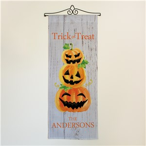 Personalized Trick or Treat Pumpkins Wall Flag | Personalized Wall Decor