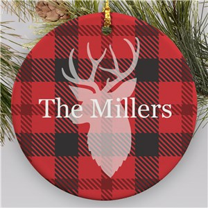 Personalized Plaid Deer Round Ornament | Personalized Family Christmas Ornaments