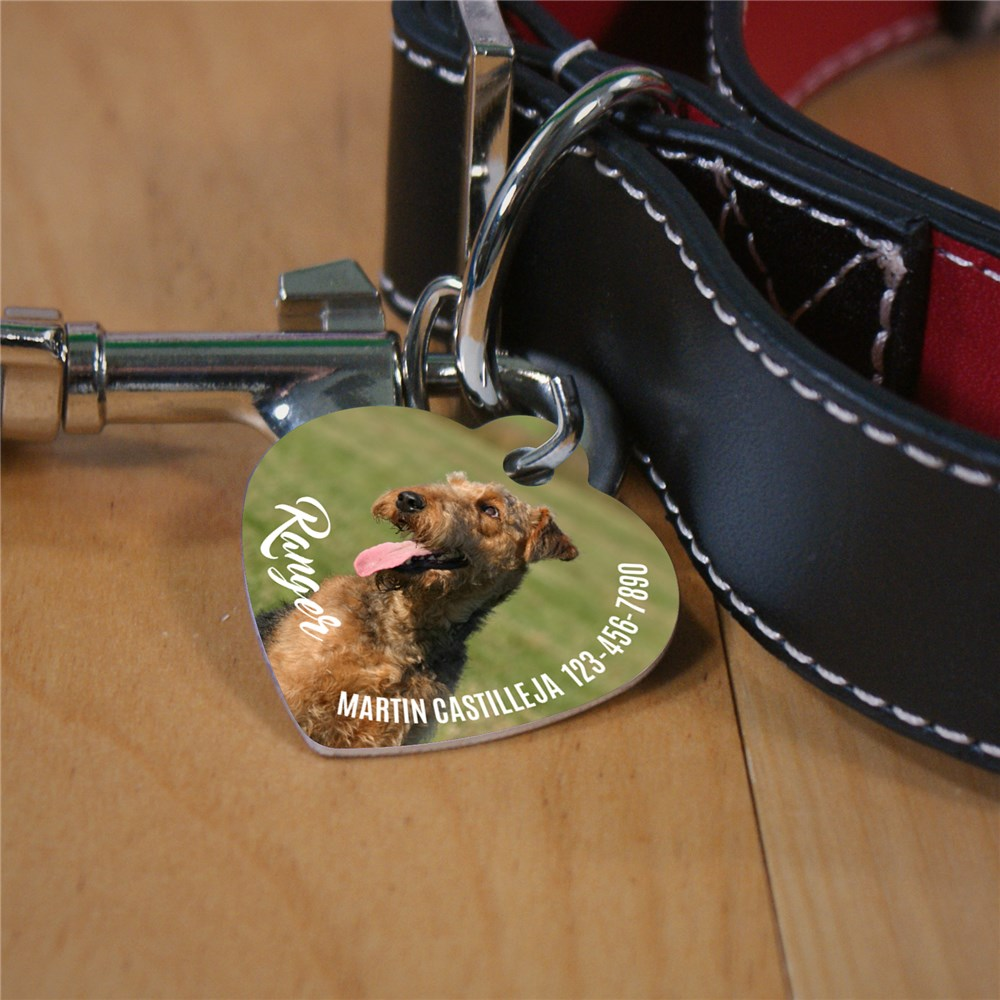 Personalized Photo Heart Shaped Pet Tag | Personalized Pet Tags