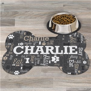 Personalized Word-Art Dog Bone Shaped Mat