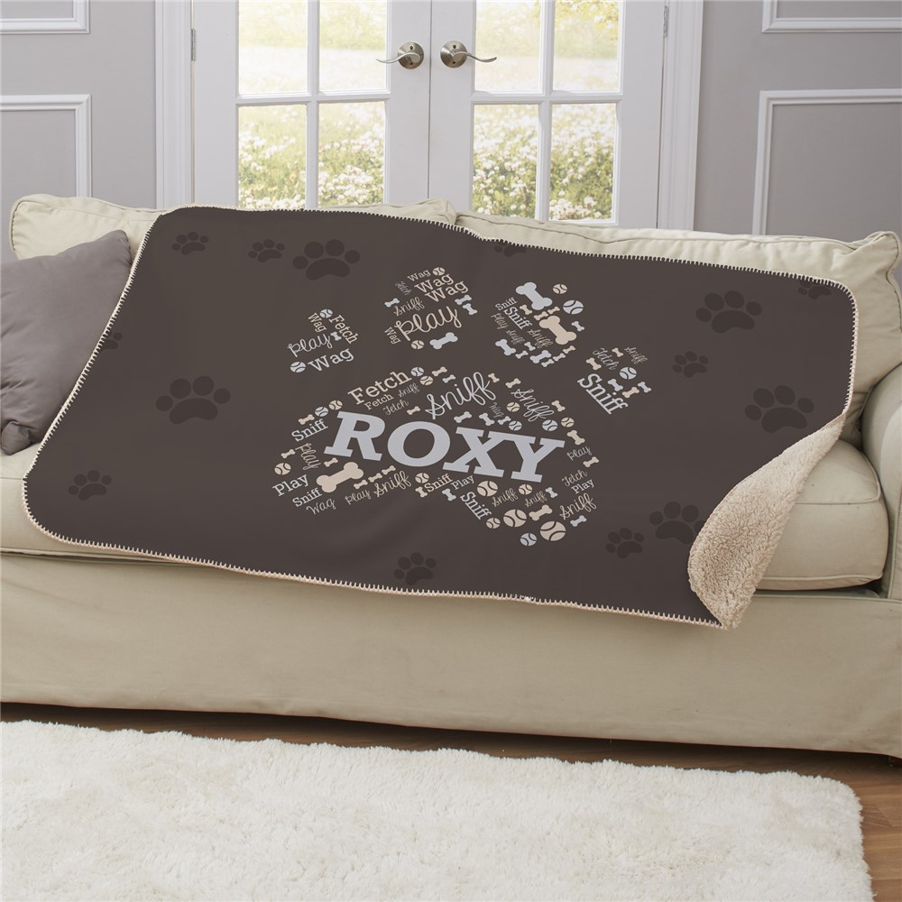 Personalized Paw Word-Art Sherpa | Personalized Pet Blankets
