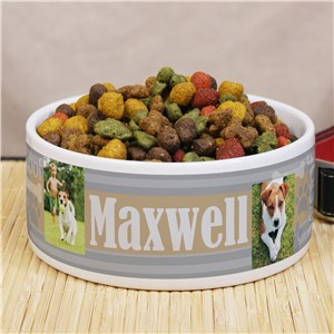 Personalized Woof Striped Pet Food Bowl U1200914