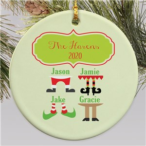 Personalized Christmas Character Legs Round Ornament | Personalized Family Ornaments