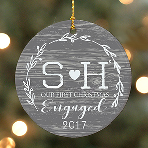 Personalized Initial First Christmas Ornament | Personalized Engagement Ornaments