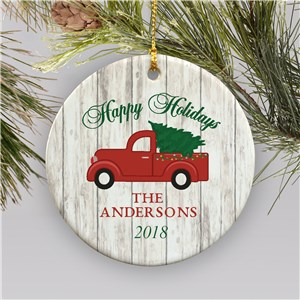 Personalized Happy Holidays Truck Ornament | Personalized Family Ornaments