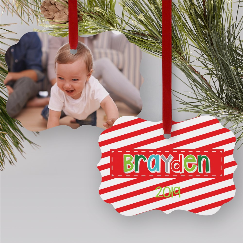 Personalized Candy Cane Photo Ornament | Photo Ornaments
