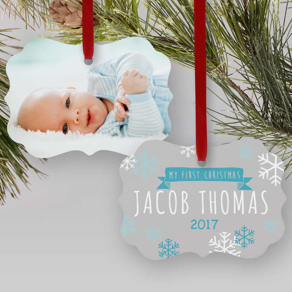 Personalized My First Christmas Photo Double-Sided Ornament | Personalized Baby Ornaments