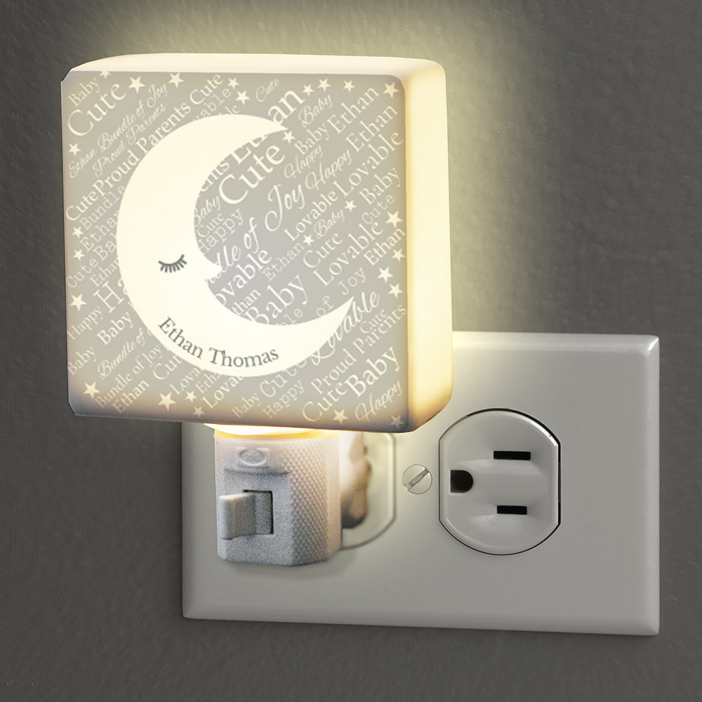 Personalized Baby Moon Word-Art Night Light | Personalized Night Light