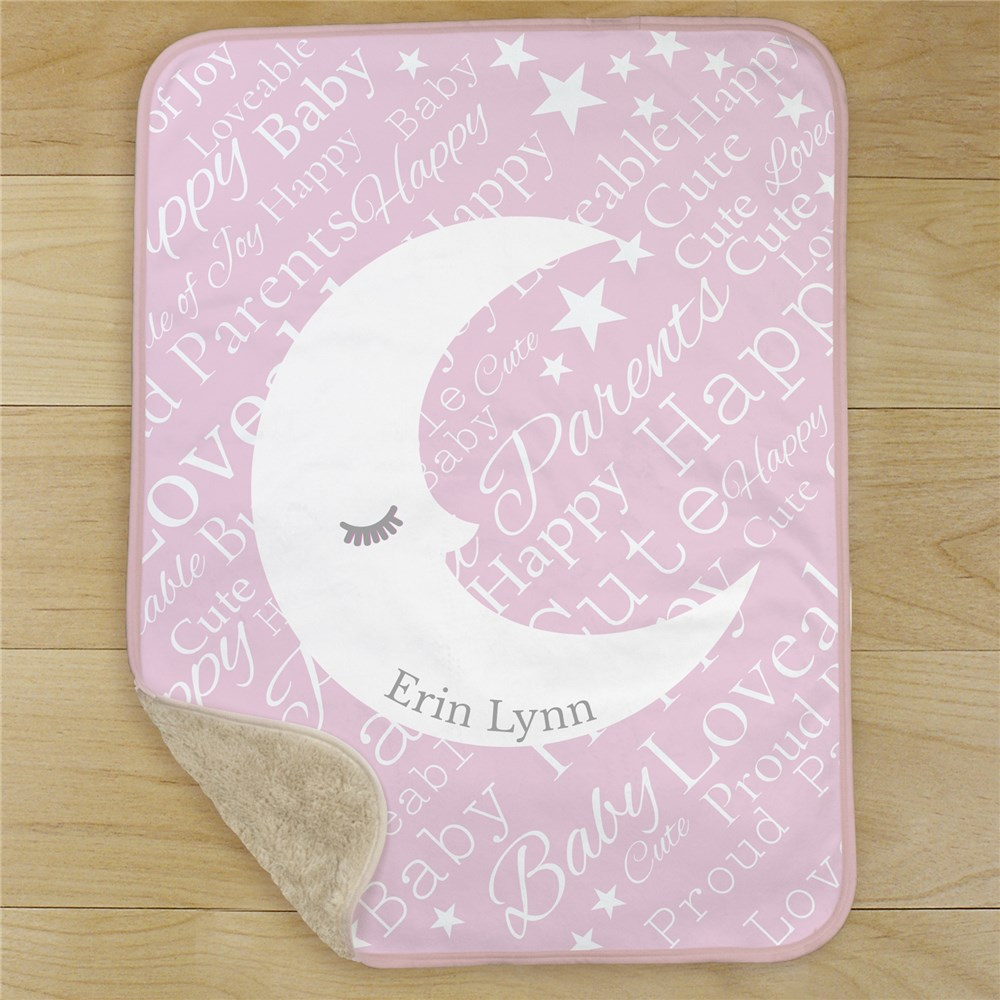 Personalized Baby Moon Word-Art Sherpa | Personalized Blankets For Baby