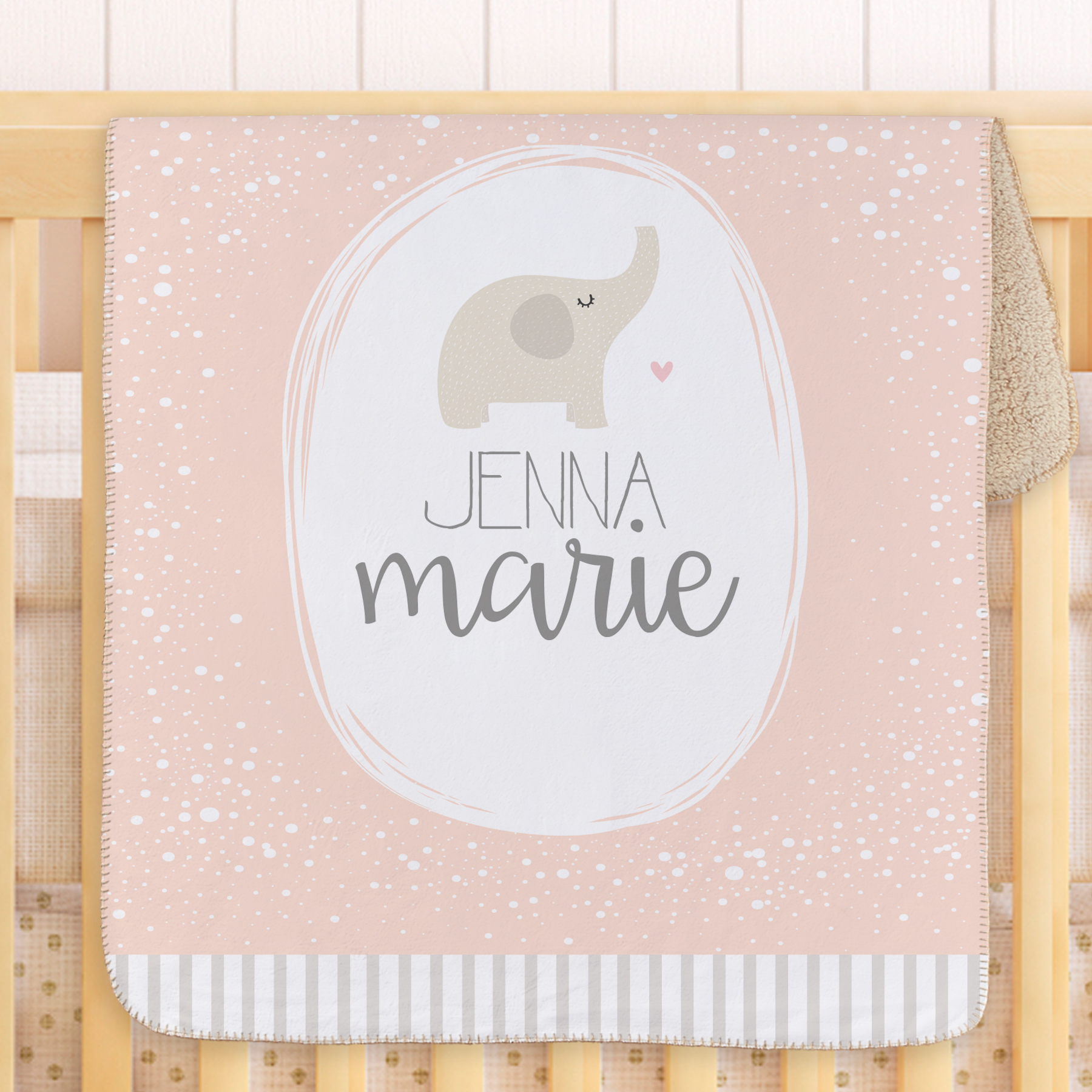 Personalized Spotted Stripe Elephant Baby Sherpa Blanket | Sherpa Baby Blanket