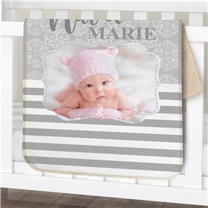 Personalized Striped Photo Baby Sherpa Blanket | Photo Personalized Baby Blanket