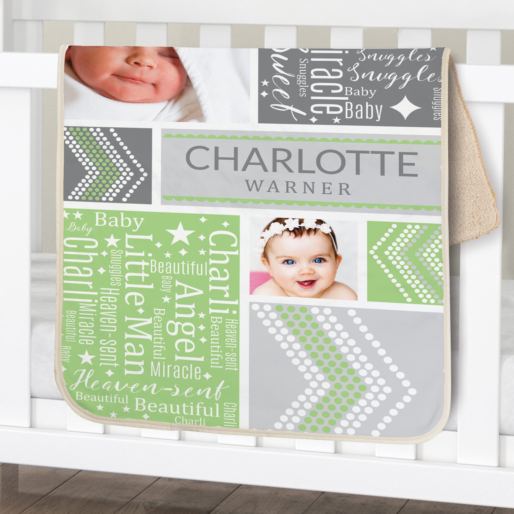 Personalized Baby Photo Word-Art Sherpa | Personalized Baby Blankets