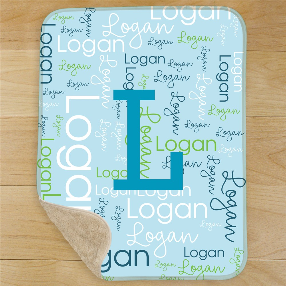 Personalized Initial Word-Art Baby Sherpa Blanket | Personalized Baby Blanket With Name