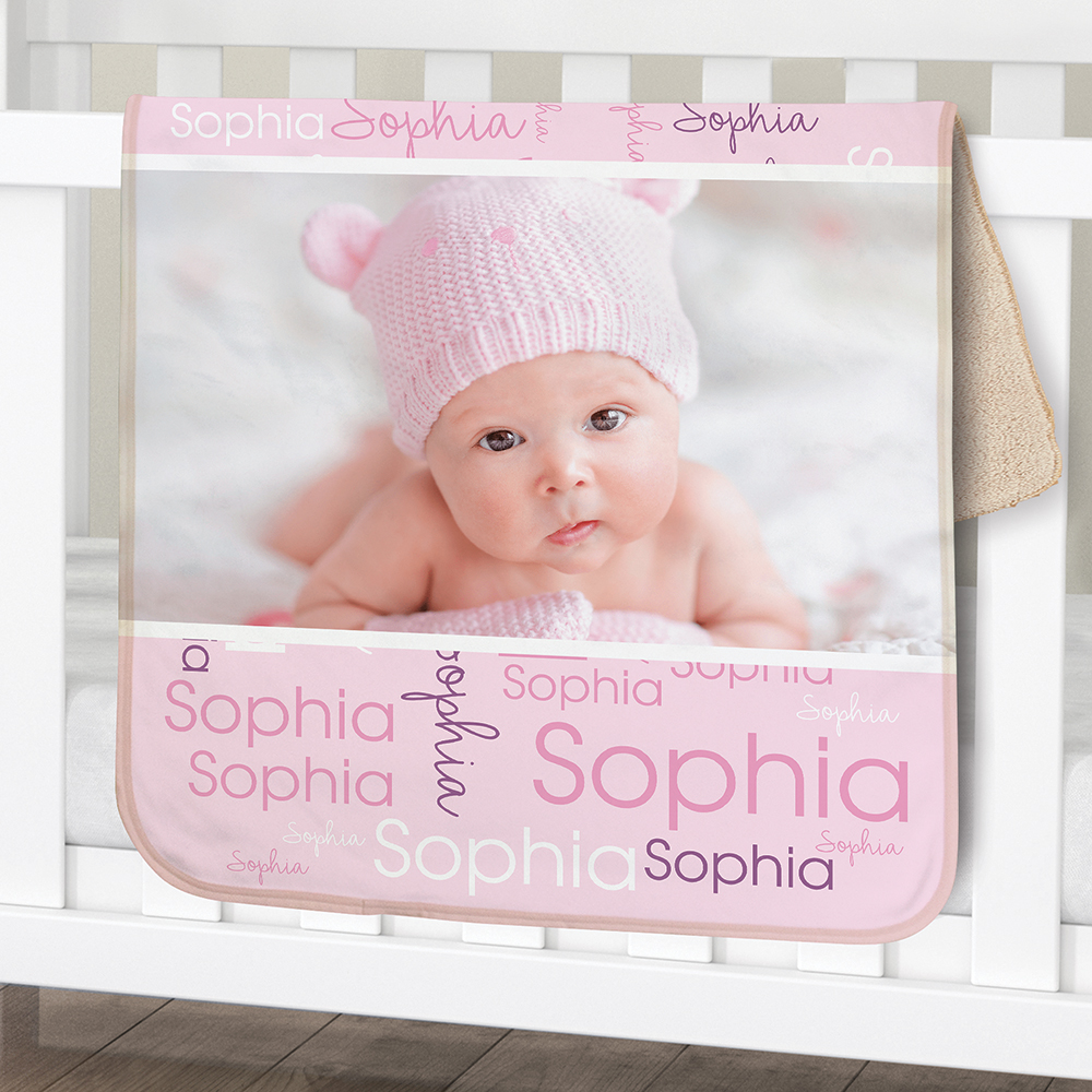 Personalized Initial Photo Word-Art Baby Sherpa Blanket | Personalized Baby Blanket With Photo